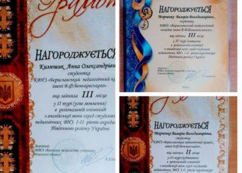 Вітаємо Анну Килюшик та Валерію Марченко з призовими місцями в регіональній олімпіаді з англійської мови